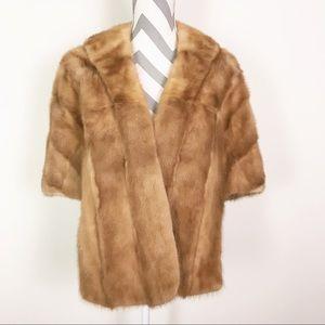 Vintage Mink Fur Stole Cape Wrap Wedding Shrug